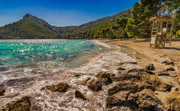 Spain Majorca Cala Formentor. Idyllic bay of Cala Pi de la Posada, beautiful seascape beach on Mallorca Formentor, Spain Mediterranean Sea, Balearic Islands Royalty Free Stock Images