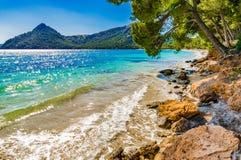 Spain Majorca Cala Formentor. Idyllic view of the beach Cala Pi de la Posada, beautiful seaside on Mallorca Cala Formentor, Spain Mediterranean Sea, Balearic Stock Image