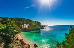 Spain Majorca Cala Gat. Beautiful island scenery, seascape Mallorca, idyllic bay beach of Cala Gat in Cala Ratjada, Spain Mediterranean Sea stock image