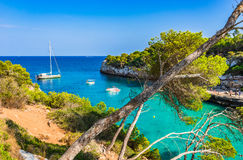 Spain Majorca Cala Llombards idyllic bay with boats. Beautiful bay with boats at the idyllic seaside of Cala Llombards on Mallorca island, Spain Mediterranean royalty free stock photos