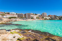 Spain Majorca Cala Major. Mallorca beach of Cala Major with beautiful turquoise sea water, Spain Mediterranean Sea, Balearic Islands royalty free stock photos