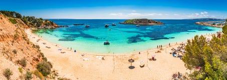 Spain Majorca Cala Portals Nous. Beautiful seaside of Mallorca island, beach Portals Nous, Platja de l`Oratori, Mediterranean Sea, Balearic Islands Royalty Free Stock Image
