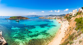 Spain Majorca Cala Portals Nous. Coastline bay beach Portals Nous on Mallorca, Balearic Islands, Spain Mediterranean Sea Stock Image