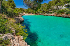 Spain Majorca Cala Serena. Beach of Cala Serena in Cala D`Or, beautiful bay seaside on Mallorca island, Mediterranean Sea, Balearic Islands Stock Images