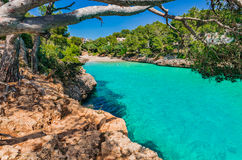 Spain Majorca Cala Serena. Beautiful island scenery on Mallorca Spain, idyllic seascape with view of the bay beach Cala Serena, Mediterranean Sea, Balearic Stock Images