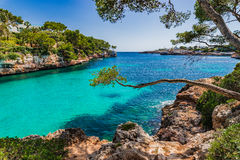 Spain Majorca Cala Serena. Beautiful island scenery, seascape Mallorca Spain, idyllic bay of Cala Serena, Mediterranean Sea, Balearic Islands Stock Photos