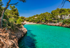 Spain Majorca Cala Serena. Idyllic bay beach of Cala Serena, beautiful seaside of Cala D`Or on Mallorca island, Mediterranean Sea, Balearic Islands Stock Photo