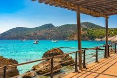 Spain Majorca Camp de Mar Bay Mediterranean Sea. Beautiful view of bay with boats in Camp de Mar, idyllic island scenery on Mallorca, Spain Mediterranean Sea Stock Image