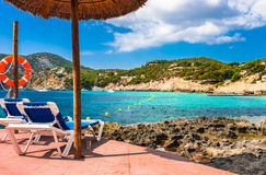 Spain Majorca Camp de Mar Beach Mediterranean Sea. Idyllic view of beach and bay in Camp de Mar on Mallorca island, Spain Mediterranean Sea, Balearic Islands Royalty Free Stock Image