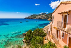 Spain Majorca Camp de Mar. Beautiful island scenery of the seaside bay in Camp de Mar Andratx on Mallorca, Balearic Islands, Mediterranean Sea Royalty Free Stock Images