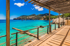 Spain Majorca Camp de Mar. Beautiful sea view on the coast in Camp de Mar Andratx on Mallorca, bay with turquoise blue sea water and anchoring yachts Royalty Free Stock Photos