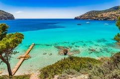 Spain Majorca Camp de Mar. Beautiful seascape scenery on Mallorca island, coast bay in Camp de Mar Andratx, Balearic Islands, Mediterranean Sea Royalty Free Stock Photo