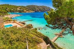 Spain Majorca Camp de Mar. Island scenery of the bay in Camp de Mar, Mallorca beach with beautiful turquoise blue sea water Stock Photo