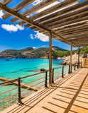 Spain Majorca Camp de Mar. Picturesque view of the bay coast in Camp de Mar Andratx, Mallorca Balearic Islands, Mediterranean Sea Royalty Free Stock Photos