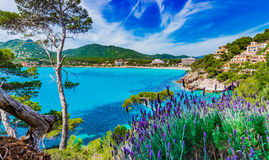 Spain Majorca Canyamel. Beautiful seaside scenery on Mallorca island, idyllic view of the coast in Canyamel, Mediterranean Sea Spain, Balearic Islands Stock Photo