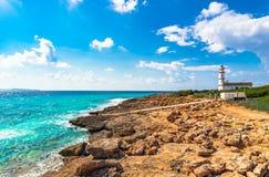 Spain Majorca Cap de Ses Salines. Island scenery, beautiful view of the lighthouse at Cap de Ses Salines on Mallorca, Spain Mediterranean Sea, Balearic Islands Stock Image