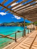 Spain Majorca coast in Camp de Mar. Beautiful island scenery, seascape Mallorca seaside in Camp de Mar Andratx, Mediterranean Sea, Balearic Islands Stock Photo