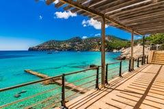 Spain Majorca coastline Camp de Mar. Picturesque view of the bay in Camp de Mar Andratx, beautiful coast seascape on Mallorca Spain, Balearic Islands Stock Image
