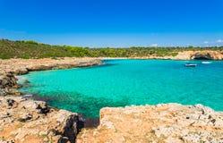 Spain Majorca idyllic bay of Cala Varques Beach Stock Photography
