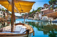 Spain Majorca idyllic fishing port of Cala Figuera Santanyi. Beautiful view of the old fishing port of Cala Figuera Santanyi, Mallorca island, Spain Stock Image