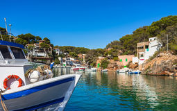 Spain Majorca idyllic fishing port of Cala Figuera Santanyi. Beautiful view of the old fishing port of Cala Figuera Santanyi, Mallorca island, Spain Royalty Free Stock Photos