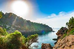 Spain Majorca idyllic view of Cala de Deia Stock Photography