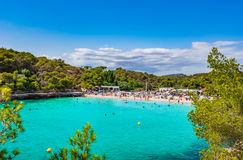 Spain Majorca island beautiful beach of Cala Mondrago. Spain Mediterranean Sea, Mallorca beach of Cala Mondrago with tropical turquoise water and beautiful Stock Images