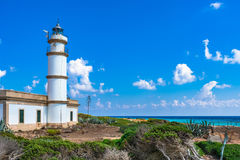 Spain Majorca island lighthouse at Cap de Ses Salines. Lighthouse at Cap de Ses Salines on Mallorca, Spain Mediterranean Sea, Balearic Islands Stock Photography