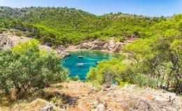 Spain Majorca Landscape Bay Beach Cala Monjo. View of the idyllic bay beach Cala Monjo, beautiful island scenery on Mallorca Spain, Mediterranean Sea, Balearic stock photos
