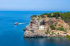 Spain Majorca Lighthouse of Port de Soller. View of the lighthouse of Port de Soller, Mallorca island, Spain Mediterranean Sea stock image