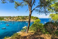 Spain Majorca Mallorca bay with boats at Portals Vells Stock Photography