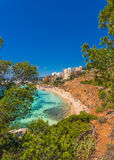 Spain Majorca Platja de l`Oratori. Beautiful view of the beach Portals Nous on Mallorca, Balearic Islands, Mediterranean Sea Spain Royalty Free Stock Images