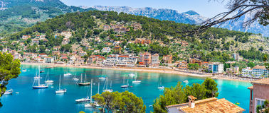 Spain Majorca Port de Soller. Beautiful panorama view of Port de Soller coastline scenery, Spain Mallorca, Balearic Islands Stock Photos