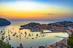 Spain Majorca Port de Soller at sunset. Beautiful sunset at Port de Soller on Majorca, Spain Mediterranean Sea, Mallorca Balearic Islands stock images