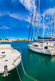 Spain Majorca Porto Colom Harbor Stock Photography