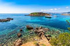 Spain Majorca Puerto Portals Nous. Beautiful seascape view of Puerto Portals Nous, Mallorca Spain, Mediterranean Sea, Balearic Islands Royalty Free Stock Image