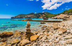 Spain Majorca seaside of Camp de Mar. Island scenery at the bay in Camp de Mar Andratx, beautiful coast landscape on Mallorca island, Balearic Islands Stock Photos