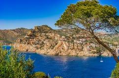 Spain Majorca seaside of Port de Andratx. Picturesque seaside scenery on Mallorca Spain, coastline Port de Andratx, Mediterranean Sea, Balearic Islands Royalty Free Stock Photos