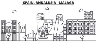 Spain, Malaga, Andalusia architecture line skyline illustration. Linear vector cityscape with famous landmarks, city