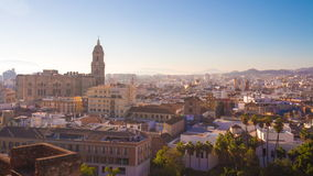 Spain malaga city sun light cathedral panorama 4k time lapse stock video footage