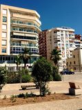 Spain. Malaga. Street Of Malaga. Residential apartment buildings. Blue sky Stock Photo