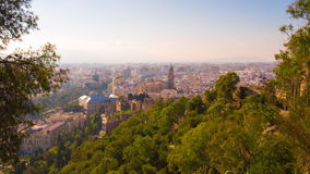 Spain malaga sun light city panorama with main cathedral 4k time lapse stock footage