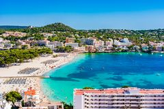 Spain Mallorca, beach of Santa Ponsa. Sand beach in Santa Ponsa, seaside on Mallorca island, Spain Mediterranean Sea Stock Photos