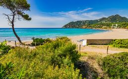 Spain Mallorca, beautiful beach landscape at Canyamel seaside. Majorca beach of Canyamel bay, beautiful seaside, Spain Balearic islands Royalty Free Stock Photo