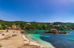 Spain Mallorca, beautiful seaside landscape at beach of Camp de Mar. Beautiful sand beach at bay in Camp de Mar, Majorca Spain, Balearic islands, Mediterranean Royalty Free Stock Images