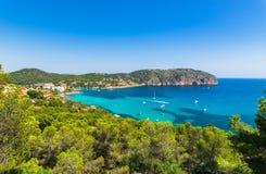Spain Mallorca Camp de Mar. Mediterranean Sea Spain, beautiful view of the coast bay of Camp de Mar on Majorca, Balearic Islands Stock Photos