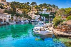 Spain Mallorca, idyllic old fishing village harbor port of Cala Figuera. View of idyllic fishing boats at old village harbor of Cala Figuera, Santanyi Mallorca royalty free stock photos