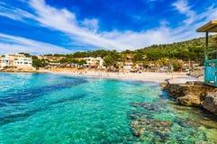 Spain Mallorca island, beautiful beach at seaside of Sant Elm. Beautiful bay beach in Sant Elm, coastline bay Majorca, Spain Mediterranean Sea Royalty Free Stock Photo