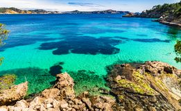 Spain Mallorca island, beautiful coast seascape of Cala Fornells. Beautiful view of seaside bay in Cala Fornells, Mallorca Spain, Mediterranean sea island Stock Images
