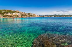 Spain Mallorca island, beautiful coastline landscape of Cala Fornells. Idyllic view of the beautiful coast of Cala Fornells on Mallorca island, Spain Stock Images